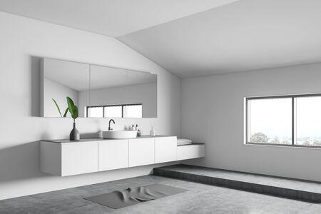 Corner of attic minimalistic bathroom with white walls, concrete floor, comfortable round sink on white countertop and big mirror. 3d rendering Banco de Imagens