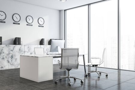 Corner of CEO office with white walls, comfortable computer desk, clocks showing world time and above marble cabinet and window with cityscape. 3d rendering