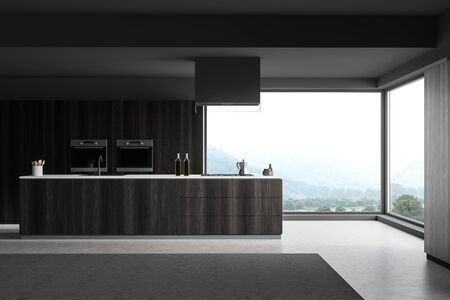 Interior of panoramic kitchen with gray walls, concrete floor, dark wooden countertops and two built in ovens. 3d rendering