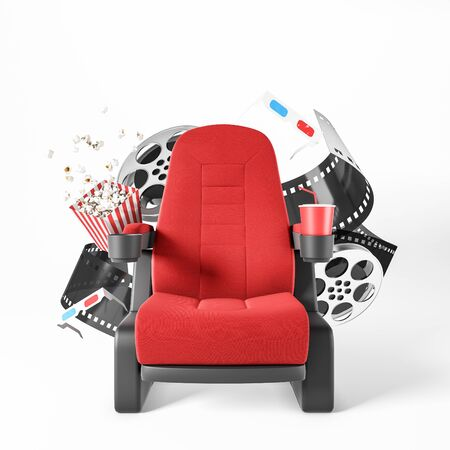Bright red cinema armchair with fizzy drink, popcorn, 3d glasses and movie reels over white background. Concept of entertainment. 3d rendering