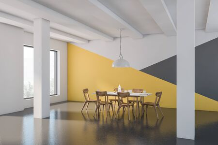 Corner of spacious dining room with white, yellow and gray walls, concrete floor, columns and long white table with wooden chairs. 3d rendering 版權商用圖片