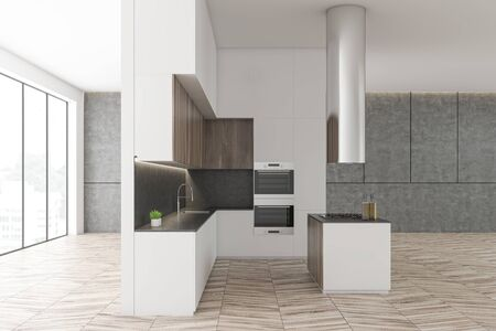 Side view of luxury kitchen with concrete and white walls, panoramic windows, wooden cupboards, white countertops and island with built in oven. 3d rendering