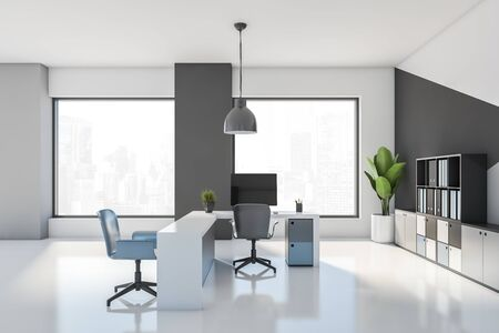 Interior of stylish open space office workplace with white and gray walls, white floor, comfortable tables with blue chairs and bookcases with folders. 3d rendering