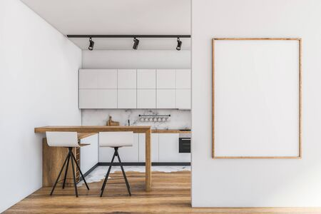 Interior of modern kitchen with white and marble walls, wooden floor, white countertops with built in appliances and bar with stools. Vertical mock up poster frame. 3d rendering