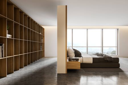 Side view of modern bedroom with white walls, big window with nice scenery, concrete floor, king size bed and row of bookshelves. 3d rendering