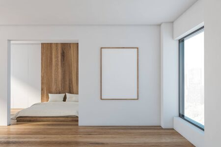 Interior of minimalistic master bedroom with white and wooden walls, wooden floor, king size bed, large window with cityscape and vertical mock up poster frame. 3d rendering
