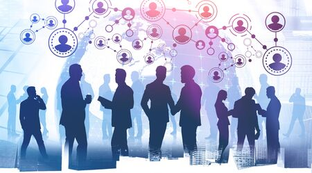 Silhouettes of business people in city with double exposure of planet hologram and HR icons. Concept of recruitment. Toned image. Elements of this image furnished by NASA