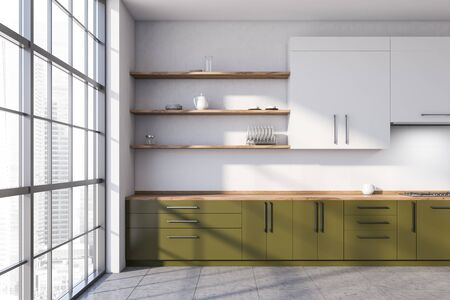 Interior of spacious kitchen with white walls, concrete floor, panoramic window, green countertops and white cupboards. 3d rendering