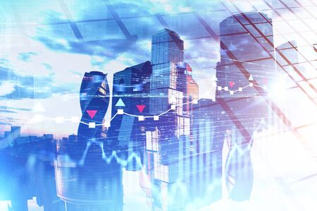 Magnificent Moscow city panorama with double exposure of blurry digital graphs. Concept of financial market and stock exchange. Toned image Archivio Fotografico - 133854816
