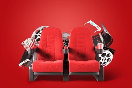 Two red cinema chairs with popcorn, drink, 3d glasses and movie reels over red background. Concept of entertainment. 3d rendering
