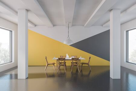 Interior of spacious dining room with white, yellow and gray walls, concrete floor, columns and long white table with wooden chairs. 3d rendering