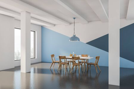 Corner of spacious dining room with white, blue and dark blue walls, concrete floor, columns and long white table with wooden chairs. 3d rendering