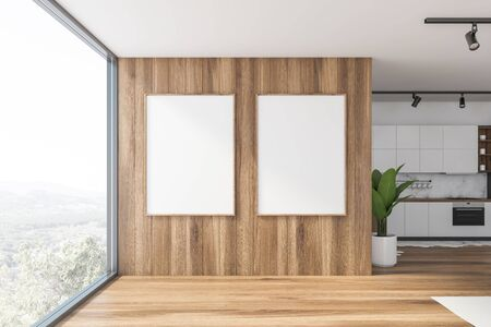 Two vertical mock up poster frames hanging in modern kitchen with white and wooden walls, panoramic window and white countertops. 3d rendering Zdjęcie Seryjne