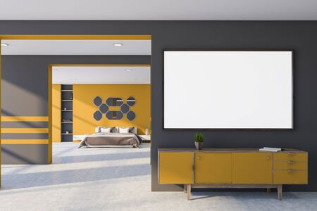 Interior of master bedroom with gray and yellow walls, concrete floor, king size bed with brown blanket and mirrors above it and yellow cabinet with horizontal mock up poster above it. 3d rendering Reklamní fotografie - 133855042