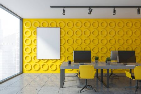Interior of open space office with yellow geometric pattern walls, stone floor and long white computer tables with yellow chairs. Vertical mock up poster frame. 3d rendering Stock Photo - 133855049