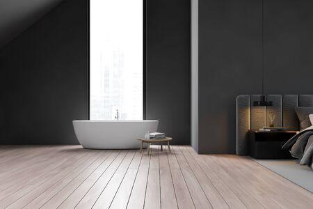 Interior of attic bathroom with dark gray walls, wooden floor, comfortable bathtub and bedroom with gray bed next to it. 3d rendering