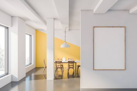Interior of stylish dining room with white and yellow walls, concrete floor, long white dining table with wooden chairs and vertical mock up poster frame. 3d rendering