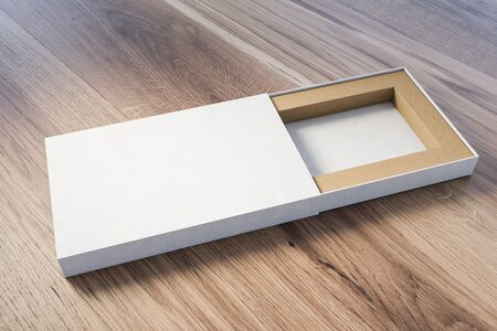 Open narrow white gift box lying on wooden table. Concept of holidays and celebration. 3d rendering