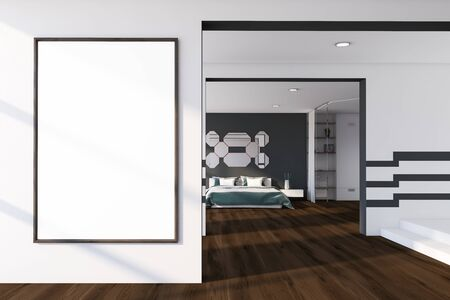 Interior of master bedroom with gray and white walls, wooden floor, king size bed with gray blanket and mirrors above it and vertical mock up poster frame. 3d rendering Reklamní fotografie - 133855113