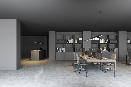 Interior of stylish open space office with gray walls, concrete floor, long computer tables, bookcases with folders and reception desk. 3d rendering Stock Photo - 133855125