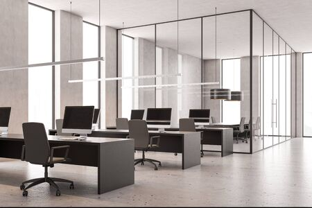Interior of loft open space office with concrete white walls, concrete floor, rows of gray computer tables and glass wall conference room. 3d rendering Stock Photo - 133855128