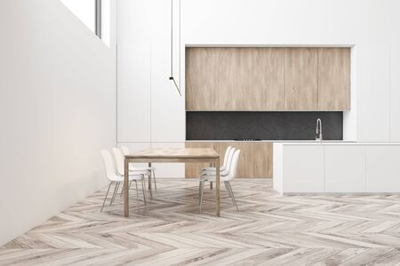 Interior of stylish dining room and kitchen with white walls, wooden floor, long wooden table with white chairs, white island and wooden countertops. 3d rendering