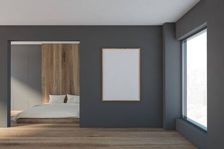 Interior of minimalistic master bedroom with grey and wooden walls, wooden floor, king size bed, large window with cityscape and vertical mock up poster frame. 3d rendering