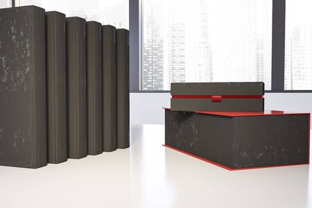 Two black gift boxes and set of black books standing on white table near window with cityscape. Concept of holidays and celebration. 3d rendering