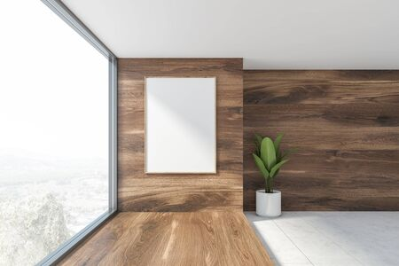 Interior of empty room with white and wooden walls, white tiled floor, potted plant and vertical mock up poster frame. Concept of real estate. 3d rendering 스톡 콘텐츠