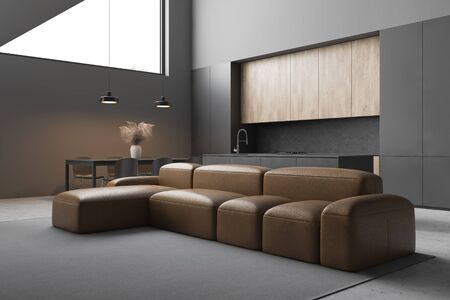 Interior of modern living room with gray walls, concrete floor, comfortable leather sofa and kitchen with grey countertops and dining table in background. 3d rendering 스톡 콘텐츠 - 133855171