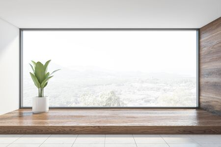 Interior of empty room with white and wooden walls, white tiled floor, panoramic window with beautiful view and potted plant. Concept of real estate. 3d rendering