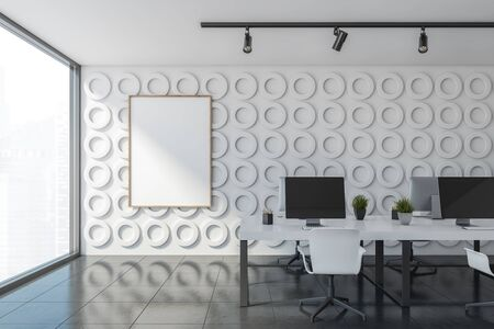Interior of open space office with white geometric pattern walls, gray floor and long white computer tables with white chairs. Vertical mock up poster frame. 3d rendering Stock Photo - 133855209