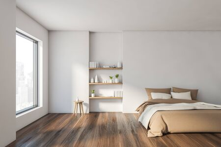 Interior of stylish minimalistic bedroom with white walls, wooden floor, comfortable king size bed with beige blanket and bookshelves. 3d rendering Reklamní fotografie