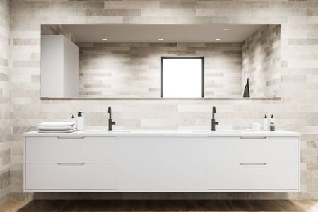 Close up of double sink standing on white countertop with modern bathroom with light tiled walls and wooden floor. 3d rendering 스톡 콘텐츠 - 133855251