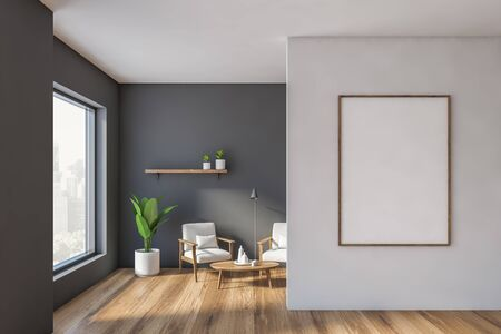 Interior of modern living room with gray and white walls, wooden floor, two cozy white armchairs standing near round coffee table, shelf with plants and vertical mock up poster frame. 3d rendering