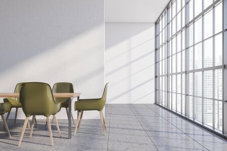 Interior of stylish dining room with white walls, concrete floor, panoramic window and long wooden table with green chairs. 3d rendering