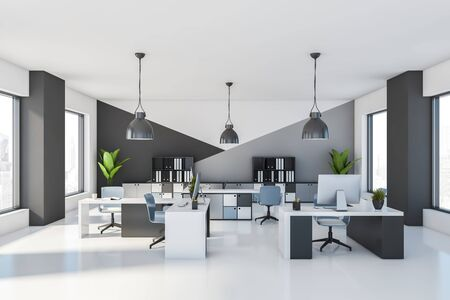 Interior of stylish open space office with white and gray walls, white floor, comfortable tables with blue chairs and bookcases with folders. 3d rendering Stock Photo - 133855298