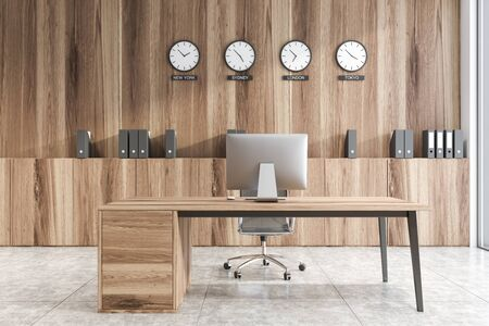 Interior of CEO office with wooden walls, comfortable computer desk and clocks showing world time above wooden cabinet. Concept of international company. 3d rendering Stock fotó