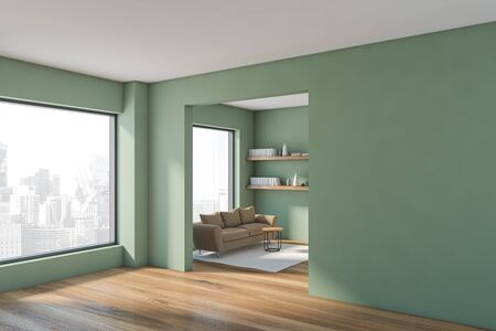 Corner of modern living room with green walls, wooden floor, beige sofa with bookshelves above it and two big windows. 3d rendering 스톡 콘텐츠