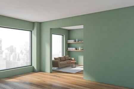 Corner of modern living room with green walls, wooden floor, beige sofa with bookshelves above it and two big windows. 3d rendering Stock fotó