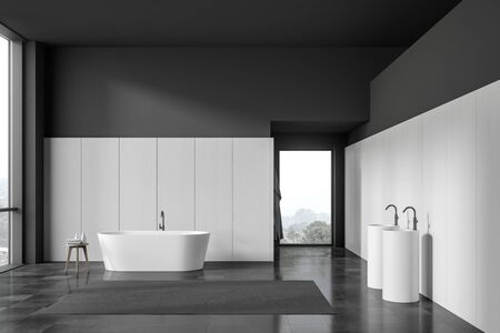 Interior of spacious bedroom with white and dark grey walls, tiled floor, comfortable bathtub and double freestanding sink. 3d rendering