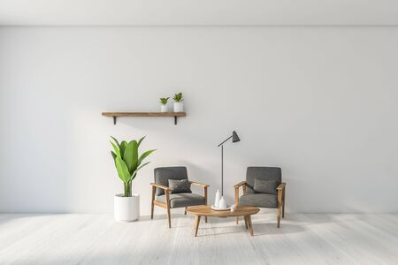 Interior of modern living room with white walls, white wooden floor, two comfortable gray armchairs standing near round coffee table and shelf with plants. 3d rendering 스톡 콘텐츠