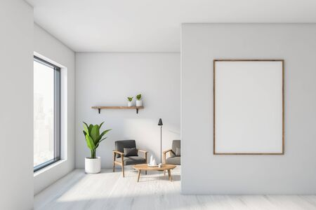 Interior of stylish living room with white walls, white wooden floor, two comfortable gray armchairs standing near round coffee table, shelf with plants and vertical mock up poster frame. 3d rendering 스톡 콘텐츠