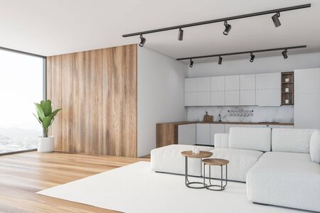 Corner of panoramic kitchen with white, marble and wooden walls, comfortable white countertops and living room area with soft couch. 3d rendering