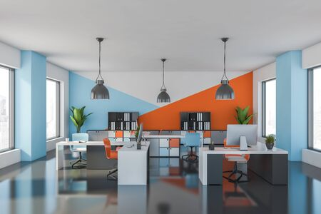Interior of bright open space office with white, blue and orange walls, gray floor, comfortable tables with bright chairs and bookcases with folders. 3d rendering