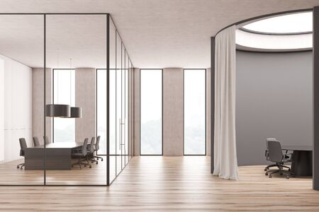 Stylish business center interior with round gray conference room and traditional glass wall meeting room with long table. 3d rendering