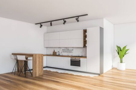 Corner of modern kitchen with white and marble walls walls, wooden floor, white countertops with built in appliances and bar with stools. 3d rendering