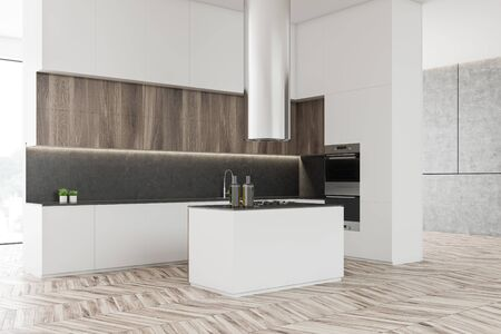 Corner of luxury kitchen with white and concrete walls, wooden floor, big windows, wooden cupboards and white countertops. Island with built in stove. 3d rendering