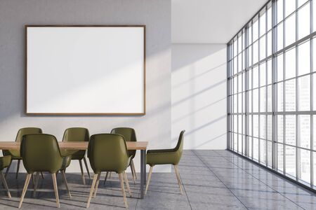 Interior of stylish dining room with white walls, concrete floor, panoramic window, long wooden table with green chairs and horizontal mock up poster frame. 3d rendering 스톡 콘텐츠