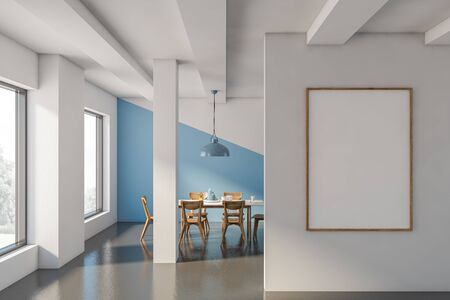 Interior of stylish dining room with white and blue walls, concrete floor, long white dining table with wooden chairs and vertical mock up poster frame. 3d rendering
